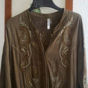 Moreno Ladie's Grey/Green Suede Jacket Cover Up